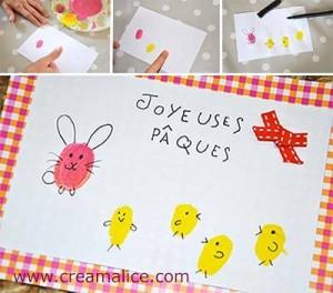 Carte Empreintes doigts Pâques