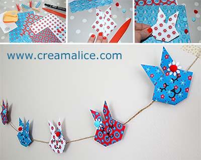 diy guirlande lapins de p ques technique origami. Black Bedroom Furniture Sets. Home Design Ideas