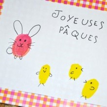 diy carte empreintes doigts enfants Pâques