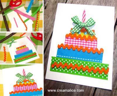 Carte Gâteau Rubans