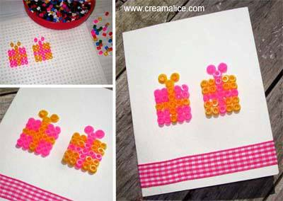 diy carte paquets cadeaux perles hama. Black Bedroom Furniture Sets. Home Design Ideas