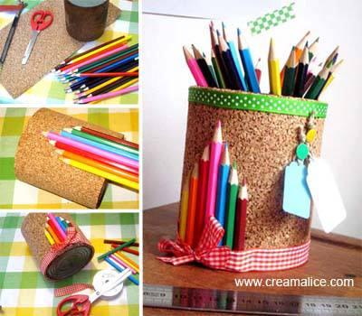 diy pot crayons r cup pour la ma tresse. Black Bedroom Furniture Sets. Home Design Ideas