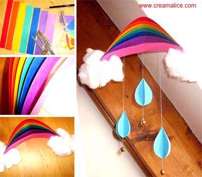 Diy joli mobile arc en ciel en coton et papier color - Mobile noel maternelle ...