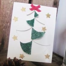 Carte sapin Noël pailletté