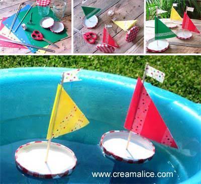 diy bateaux r cup avec des couvercles de pots confiture. Black Bedroom Furniture Sets. Home Design Ideas