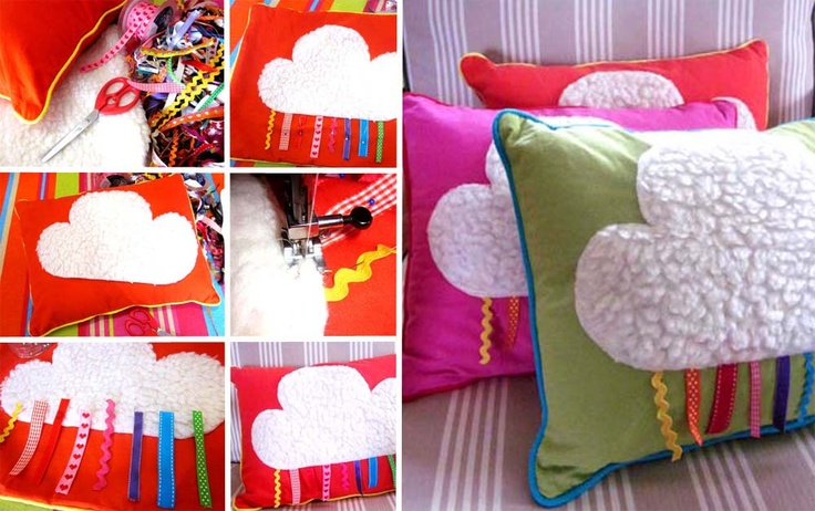diy coussin nuage rubans. Black Bedroom Furniture Sets. Home Design Ideas