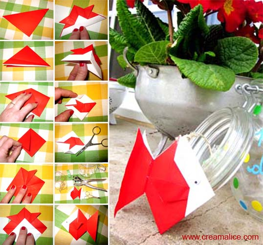 diy d co 1 avril bocal poisson origami. Black Bedroom Furniture Sets. Home Design Ideas
