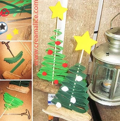 Diy d co mini sapins de no l - Decoration de noel a fabriquer en papier ...