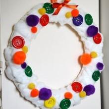 diy couronne Noël coton et boutons
