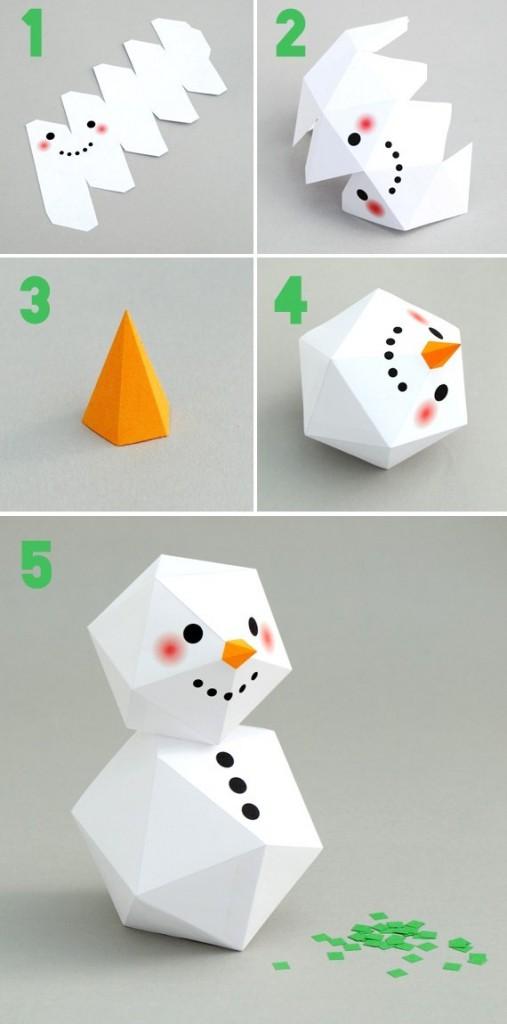 Printable bonhomme de neige g om trique - Comment faire un bonhomme de neige en papier ...