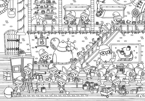 Printable coloriages de no l pour les kids - Paysage de noel dessin ...