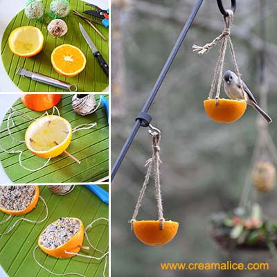 diy mangeoire oiseaux r cup avec une orange. Black Bedroom Furniture Sets. Home Design Ideas