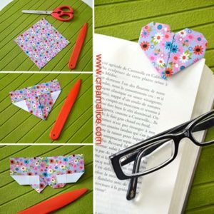 Marque-pages Cœur Origami