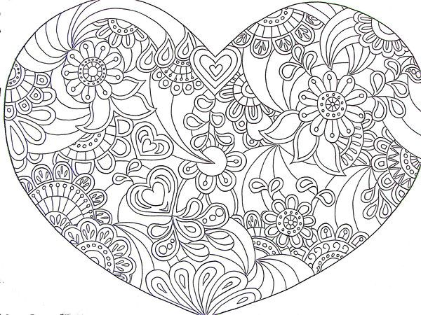 Printable coloriages coeurs for Abstract heart coloring pages