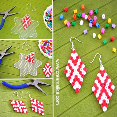 Diy boucles d 39 oreilles graphiques en perles hama - Boucle d oreille diy ...