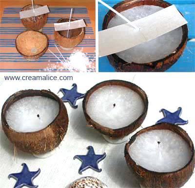 diy bougies noix de coco pour les soir es d 39 t. Black Bedroom Furniture Sets. Home Design Ideas