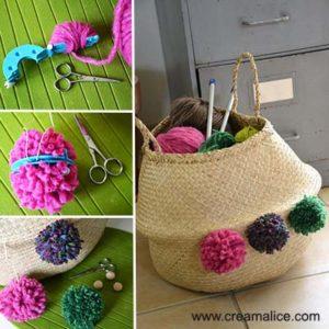 diy customisation panier pompons
