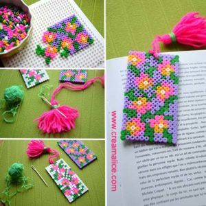 diy marque pages perles hama pompon. Black Bedroom Furniture Sets. Home Design Ideas