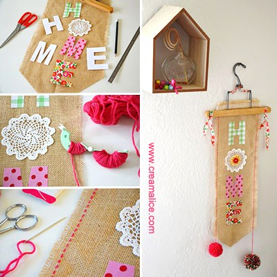 Diy d co murale tissu home sweet home for Decoration murale diy