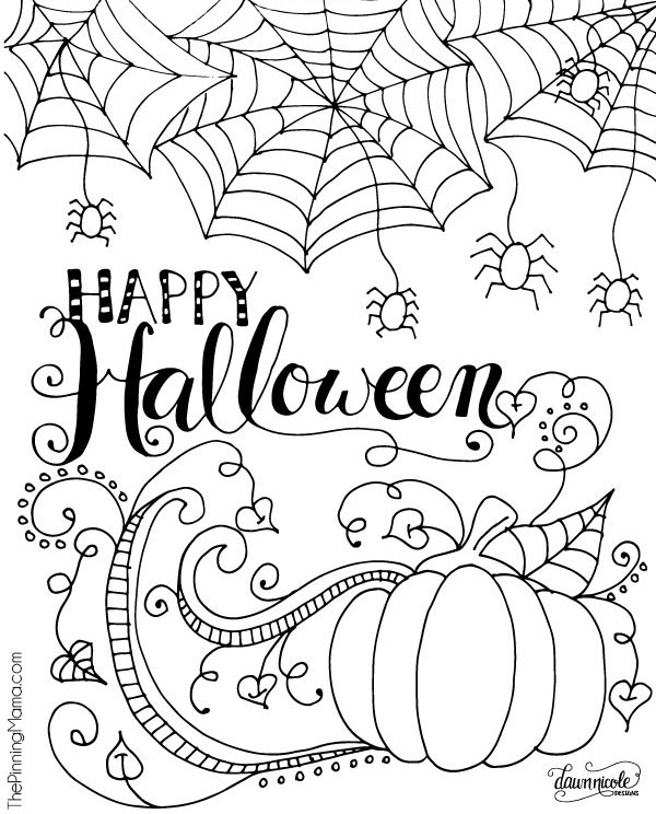 Printable coloriage happy halloween cr amalice for Happy halloween coloring pages printable