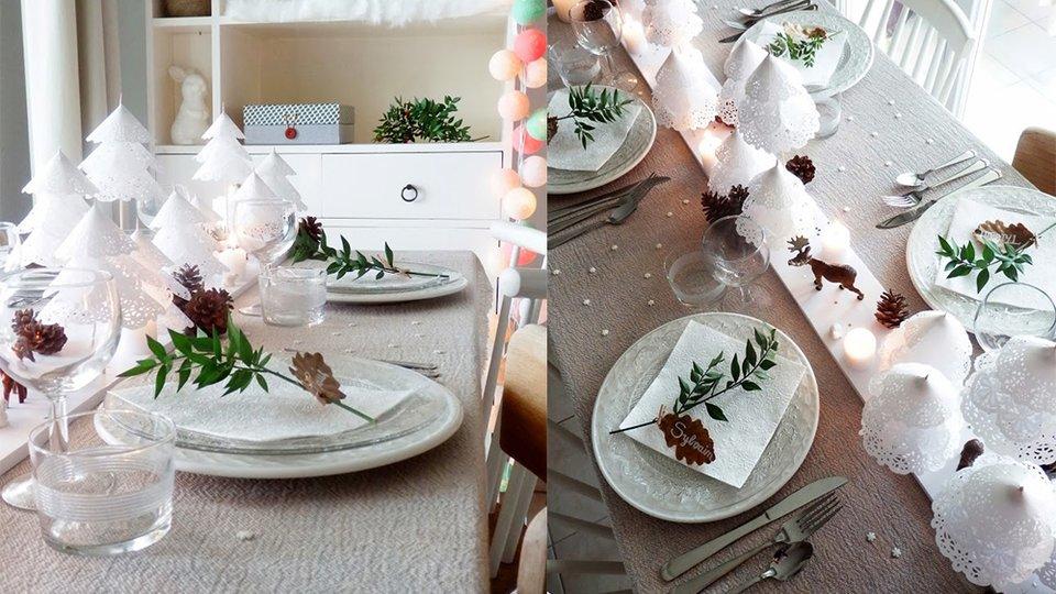 diy} sapins dentelle papier pour le centre de table de noël