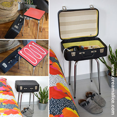 diy chevet r cup avec une vieille valise. Black Bedroom Furniture Sets. Home Design Ideas