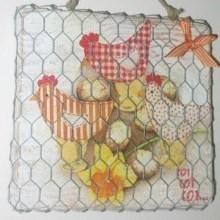 diy déco tableau serviettage poulettes Pâques